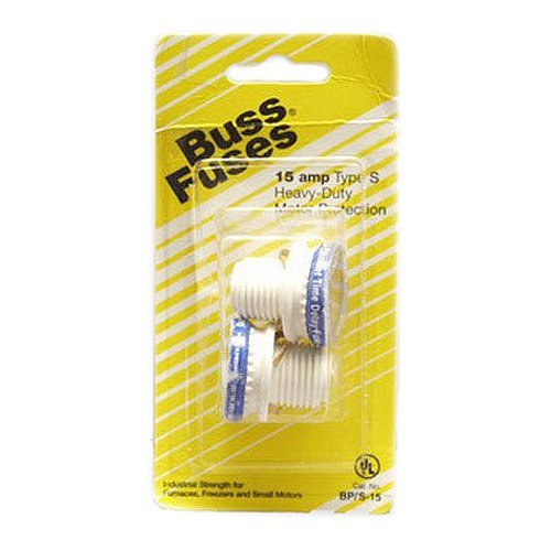 Fusetron Plug Fuse - Bussmann BP/S-15 15 Amp Type S Time-Delay Dual-Element Plug Fuse Rejection Base, 125V UL Listed Carded, 2-Pack by Bussmann