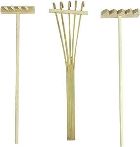 AUEAR, Set of 3 Mini Zen Sand Rakes Bamboo Rock Garden Sand Tray Rake for Home Office Table
