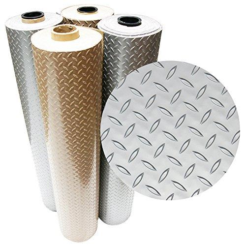 Rubber-Cal Diamond Plate Metallic PVC Flooring, Silver, 2.5mm x 4′ x 20′