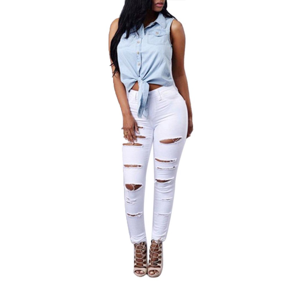 Internet Women High Waisted Skinny Ripped Denim Pants Pencil Jeans Trousers Internet_694