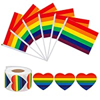 Jinyuu 50 Pack Mini Rainbow Gay Pride Stick Flag and 500 Pcs LGBT Love Rainbow Heart-Shaped Stickers Roll Gay Pride Rainbow Party for Mardi Gras Festival Supplies(Color 1)