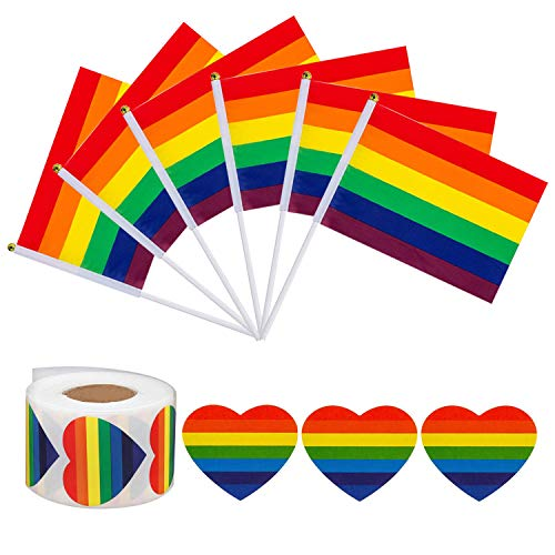 (Kithwaro 50 Pack Mini Rainbow Gay Pride Stick Flag and 500 Pcs LGBT Love Rainbow Heart-Shaped Stickers Roll Gay Pride Rainbow Party for Mardi Gras Festival Supplies(6)