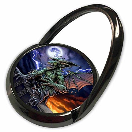 3dRose dark, Gargoyle, Illustration - Gargoyle sitting on a pedestal lighting and the moon - Phone Ring (Gargoyle Lighting)