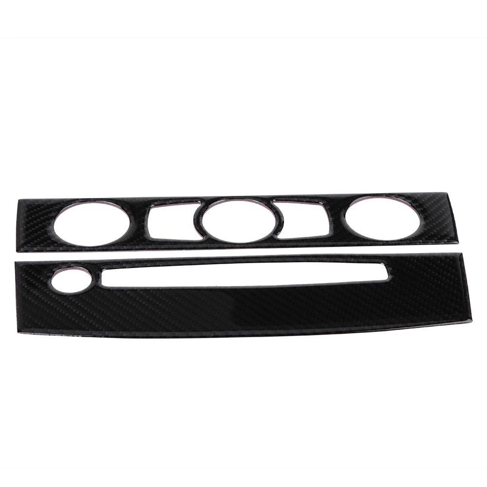 Keenso Kohlefaser Konsole Central Interior Trim Klimaanlage Schalter Panel Cover CD-Steuerung Rahmen Dekoration Aufkleber(D (2004-2007))