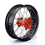 TARAZON 17''x5.0'' Rear Supermoto Wheel Kit Rim Orange Hub Spokes for KTM SX XC SX-F XC-F 125 150 250 300 350 450 With 25mm axle spacers