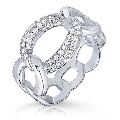 Graduated Link Curb (Sterling Silver Graduated Curb Link & Pave CZ Ring (5))