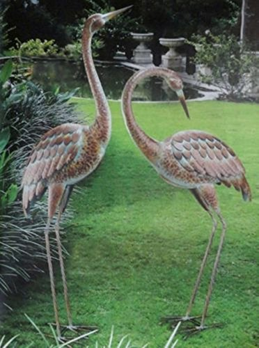 CHSGJY Romantic Garden Crane Pair Coastal Metal Statues Bird Yard Art Outdoor Sculptures Heron