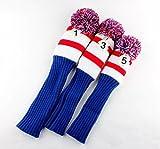 Craftsman Golf Club Knit 3pcs Headcover Set Vintange Pom Pom Sock Covers 1-3-5