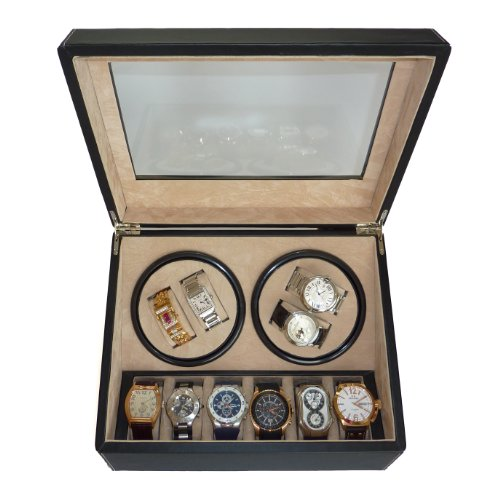 Slot Watch Winder (TimelyBuys 4 + 6 Quad Black Leatherette Automatic Watch Winder & Storage Case)