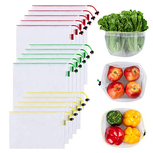 15 Reusable Produce bags Set, Zero Waste Produce Bags See-Through Mesh Bags with Drawstring Toggle Closure, Colorful Tare Weight Tags,3 Sizes