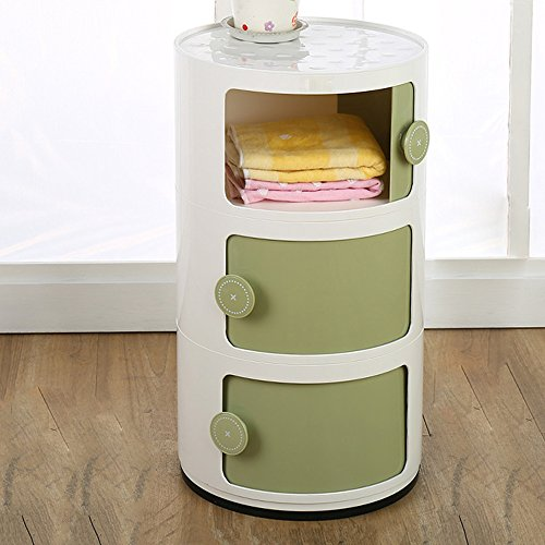 Rack Shelves Xiaolin Storage Cabinet Children's Bedroom Bedside Table Plastic Mini Collection Cabinets Living Room Locker Three Layers Storage Optional Color (Color : 04)