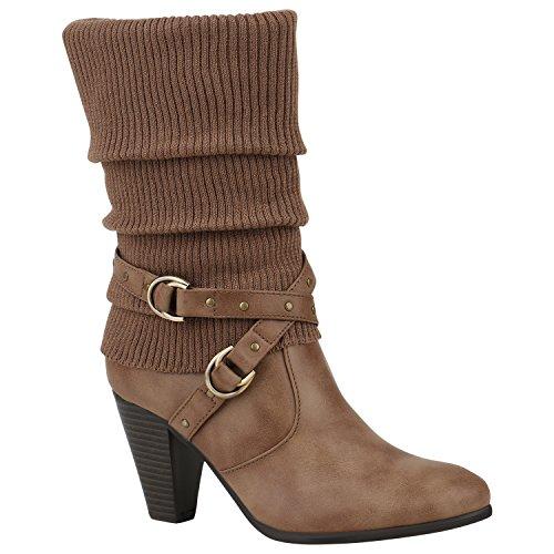 Stiefelparadies Stiefel Damen Stiefeletten Schnallen Nieten Stulpen High Heels Boots Trichterabsatz Schuhe Flandell Khaki Stulpen