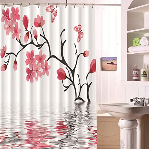 Alicemall 3D Bathroom Shower Curtain Pink Peach Blossom Reflection in the Water 3D Shower Curtain Pink Flower Polyester Waterproof Bath Curtain, 71 x 71 Inch (71