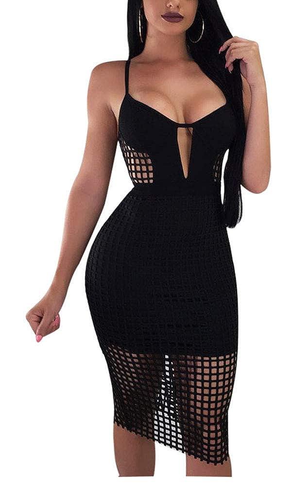 ANBI Woman Sexy Suspenders deep v mesh Black Midi Dress