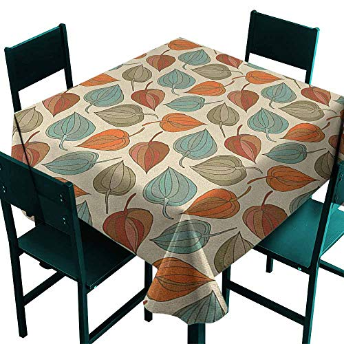 Warm Family Floral Washable Table Cloth Onion Flower Leaves Mother Nature in Autumn Art Nouveau Winter Cherry Rural Pattern Great for Buffet Table W36 x L36 Multicolor