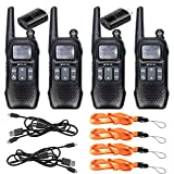 Retevis RT16 2 Way Radio Walkie Talkies Rechargeable FRS NOAA FM Radios Dual Watch 121 Privacy Codes Two-Way Radio for Adult with Flashlight (4 Pack)