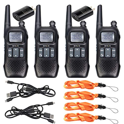 Retevis RT16 Walkies Talkies Rechargeable FRS NOAA FM Radios Dual Watch 121 Privacy Codes Long Range Two-Way Radio for Adult with Flashlight 4 Pack