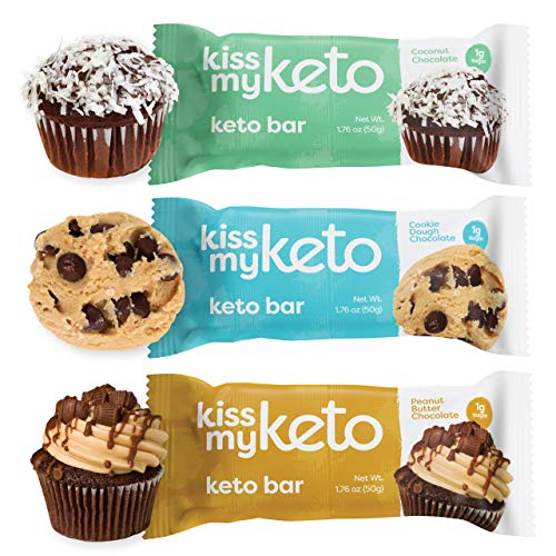 Kiss My Keto Bars – Low Carb 3g Net , Low Sugar Keto Snack Bars Chocolate Variety Pack, 12 Pack Rich in Ketogenic Fats Protein