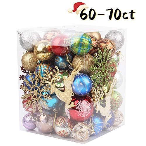 NIGHT-GRING 60-70ct Christmas Balls Ornaments Set for Xmas Christmas Tree Decorations Theme Assorted Shatterproof Christmas Ball Ornaments Festive Party Pendant Decoration (Tree Ornaments Christmas Shatterproof)