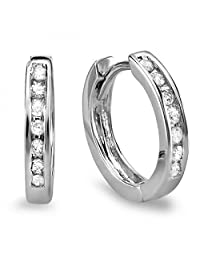 0.20 Carat (ctw) 10k White Gold Small Huggie Hoop Earrings 11 mm diameter