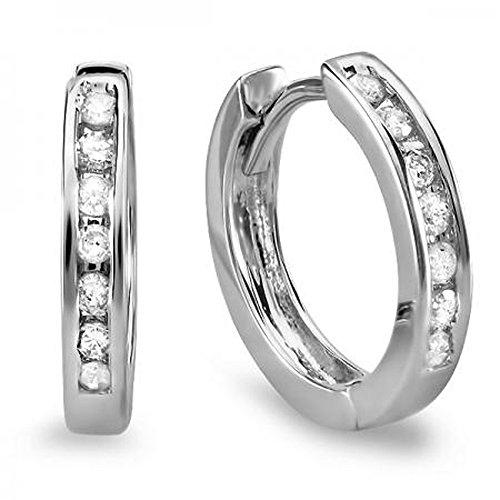 0.18 Carat (ctw) 10k White Gold Small Round Diamond Huggie Hoop Earrings - Huggie Hoop Earrings Diamond