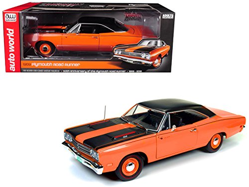 Edition Tunes Looney Limited (Auto World 1969 Plymouth Road Runner Omaha Orange with Black Stripes and Top 50th Anniversary Looney Tunes Limited Edition to 1002 pieces Worldwide 1/18 Diecast Model Car by AMM1131)