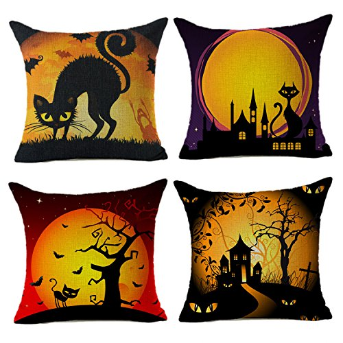 Happy Halloween Black Cat Home Decor Throw Pillow Case Cushion Cover 18 x 18 Inch Cotton Linen Set of 4,By 4TH Emotion (Happy Halloween Black Cat)