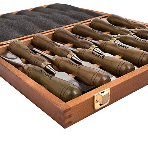 IMOTECHOM 12-Pieces Woodworking Wood Carving Tools Chisel Set with Walnut Handle, Wooden Storage