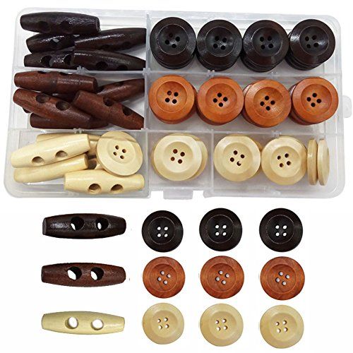 IDOXE Large Round Wood Buttons for Crafts Wooden Toggle Button Assorted 1 inch 4 Hole Sewing DIY Supplies (Craft Assorted Wood)