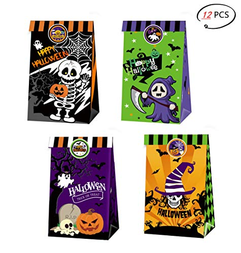 LMOW 12 Pack Halloween Party Bag, Trick or Treat Bags, Halloween Treat Bags in 4 Designs for Trick-or-Treating,Halloween Goody Bags