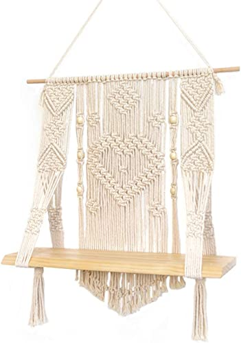 Boho Style Macrame Rope Woven Wood Shelf Tapestry Tassel Wall Floating Hanging Art Organizer Hanger Home Decor Handmade Craft