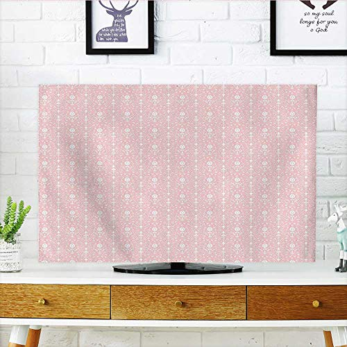 Damask Flush (Auraisehome Dust Resistant Television Protector for Home Damask Pattern with Flowers Vintage Illustration Light Pink and White tv dust Cover W20 x H40 INCH/TV 40