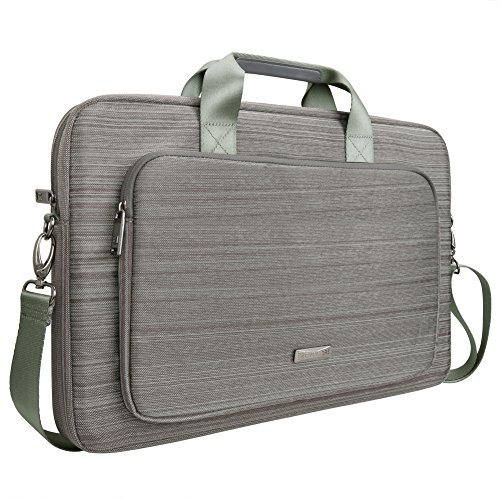 Evecase Classic Padded Briefcase Messenger Bag with Shoulder Strap and Handle for Laptops (Gray, 17.3-Inch)