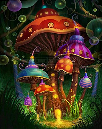 5D DIY Diamond Painting Kit,Mushroom Print Home Decor Wall Stickers Murals,Round Rhinestone Pasted Embroidery Cross Stitch (Multicolor, 30X40cm) -