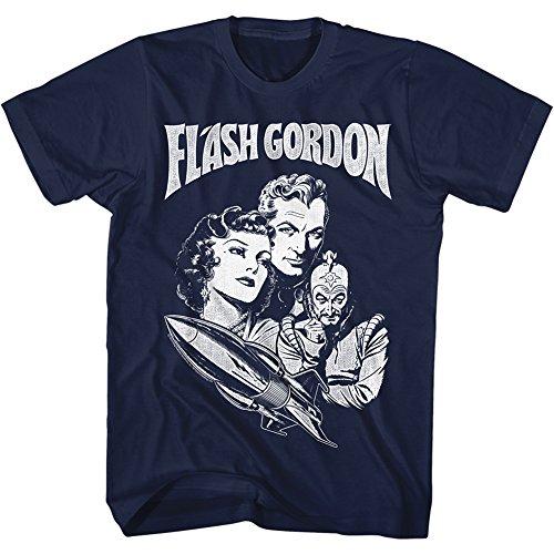 A&E Designs Flash Gordon T-Shirt Characters with Rocket Ship Navy Tee, 2XL