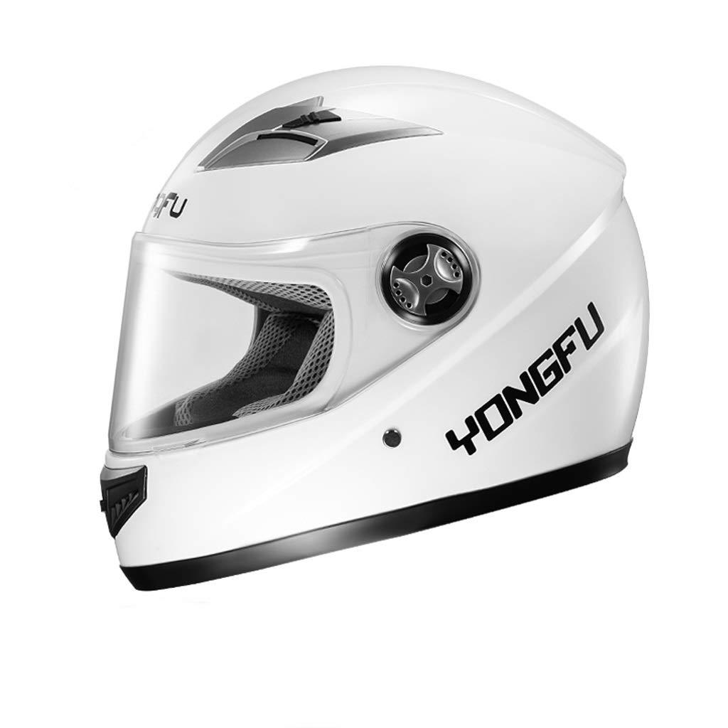電動バイク用ヘルメット、四季フルヘルメット、防曇フルカバーヘルメット、5色 (Color : 白い)
