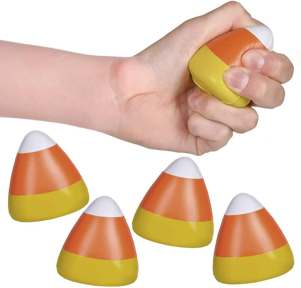 ArtCreativity Mini Candy Corn Stress Relief Toys, Set of 24, Slow Rising Squeezy Toys for Kids, Halloween Party Favors and Non-Candy Trick or Treat Supplies, Birthday Goodie Bag Fillers