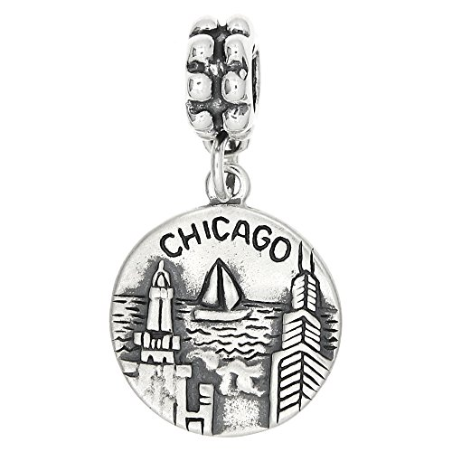 Sterling Silver Oxidized Chicago The Windy City Dangle Bead Charm