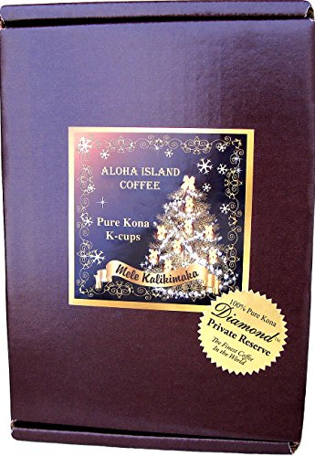 12 Single-Serve Cups of 100% Pure Kona Coffee for Use in Keurig K-cup Brewing Systems, Limited Edition Christmas Gift Box Packaging, Exclusive Private Reserve Diamond Kona-cups, Box of 12 - Kona In Shopping Hawaii