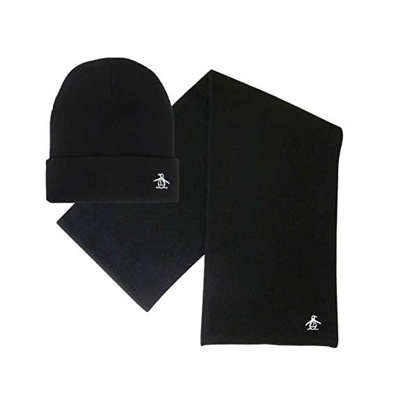 9d66fef7fb9 Image Unavailable. Image not available for. Colour  Original Penguin Mens  Logo Black Prez Knitted Winter Cuffed Hat ...