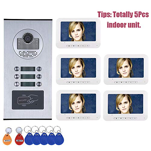 JJML-G Video Doorbell Door Phone Intercom System, Night Vision Video Monitor for Family Manor Villa Apartment, Door Entry System with 7 Inch 1000TVL HD 5Monitor 1Camera for 5 Family House