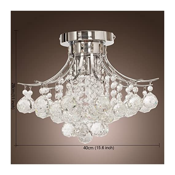 Saint Mossi Chandelier Modern K9 Crystal Raindrop Chandelier Lighting Flush Mount LED Ceiling Light Fixture for Dining… - Bulb Specification: 3 x E12 x Max 40W, Bulb Not Included. Full Assembly Required with time and effort. Product Dimensions: 16 x 16 x 11 inches -- Canopy Diameter: 6 in The Amazing flush mount K9 Crystal modern Rain Drop Chandelier Lighting is a gorgeous ceiling light fixture which is far more stunning than the picture. Solidly built with superior quality materials -- first-class crystal class raindrop & brightly stainless steel, the modern contemporary chandelier pendant lamp quality is guaranteed. - kitchen-dining-room-decor, kitchen-dining-room, chandeliers-lighting - 51HNvPh4l2L. SS570  -