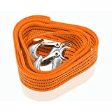 Zone Tech 3 Tons Car Tow Cable Towing Strap Rope with Hooks Emergency Heavy Duty 10 Feet