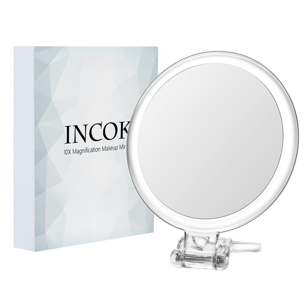 10X 1X Double Sized Magnifying Makeup Mirror - 5 High Definition Magnified Makeup Mirror Adjustable Multi-use Magnification Vanity Mirror with Handle Portable Transparent & Round (5) INCOK