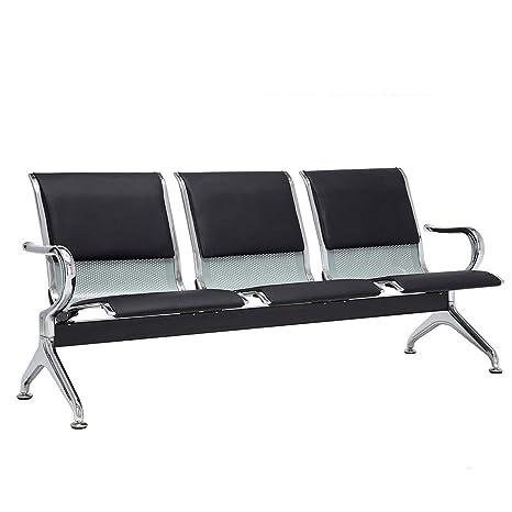 Amazon.com: Sofá banco de 3 asientos negro cojín de acero ...
