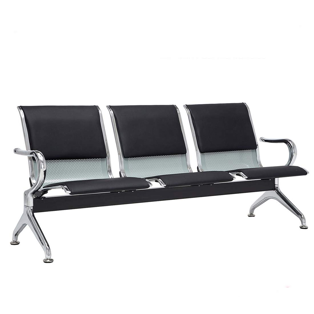 3 Seat Sofas Bench Black Cushion Cold-Rolled Steel Comfort and Durability Lobby, Hospital, Barber, Salon Office