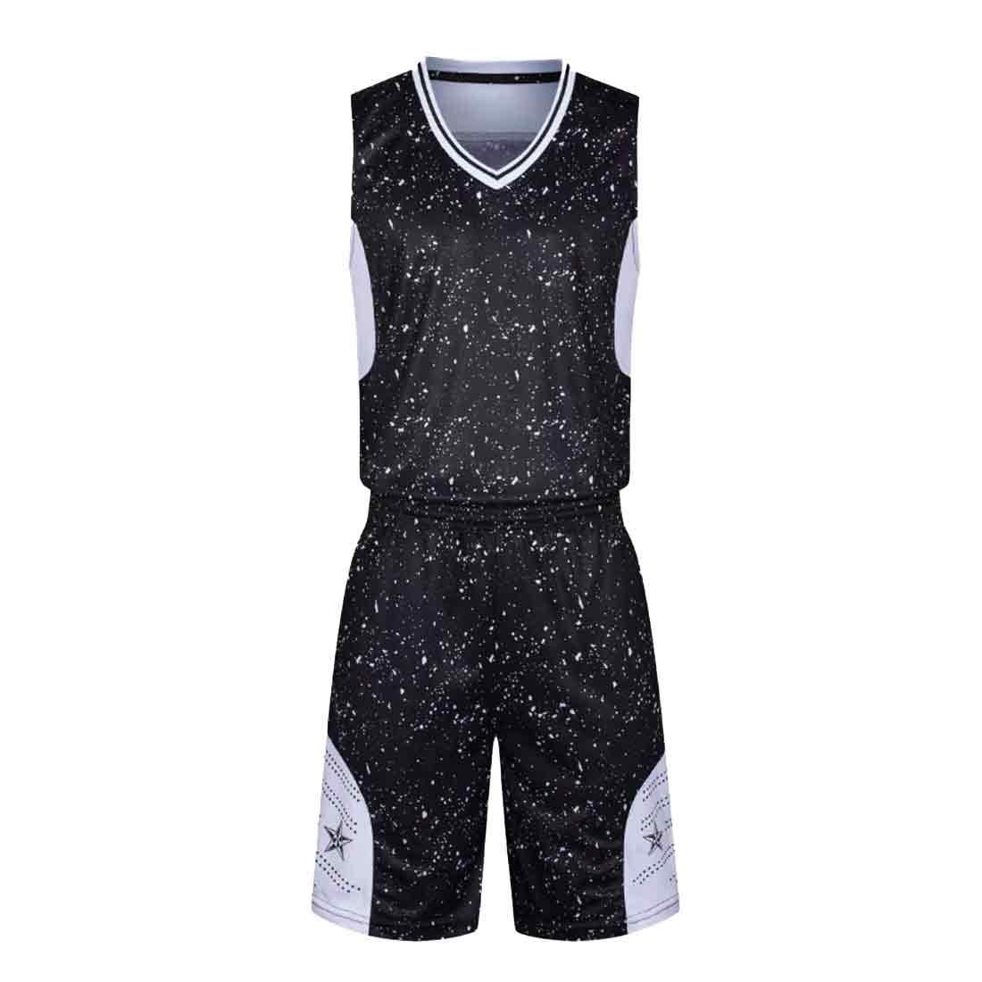 Yefree Herren Camouflage Basketball Sweatshirt Basketball Kleidung Set Trainingshose Sport Set Jersey und Kurze Basketball Jersey Set