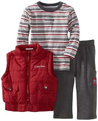 Calvin Klein Baby Boys' Vest with Stripes Tee And Pant, Assorted, 12 Months