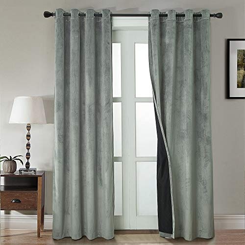WINDOWFIT Super Soft Luxury Heavy Velvet Set of 2 100% Blackout Grommet Curtain Panel Drapes with Heavy Microfiber Lining (Silver, 52