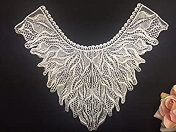 Amazon.com: 2 pieces large beaded wave embroidered organza yoke